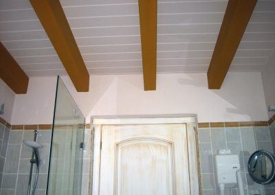 Baño con techo en blanco y viguetas en ocre.